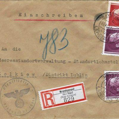 Конверт періоду Генерал-Губернаторства. 19.XI.1943