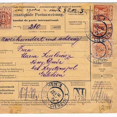Грошовий переказ Щецин-Новий Двір. 1919