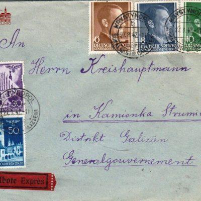 Конверт листа з Кристинополя до Кам'янки Струмилової (тепер м. Кам'янка-Бузька) часів Генерал-Губернаторства. 1942