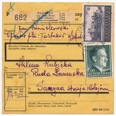 Документ посилки Тартаків-Руда-Ланьцуцька. 30.XI.1943