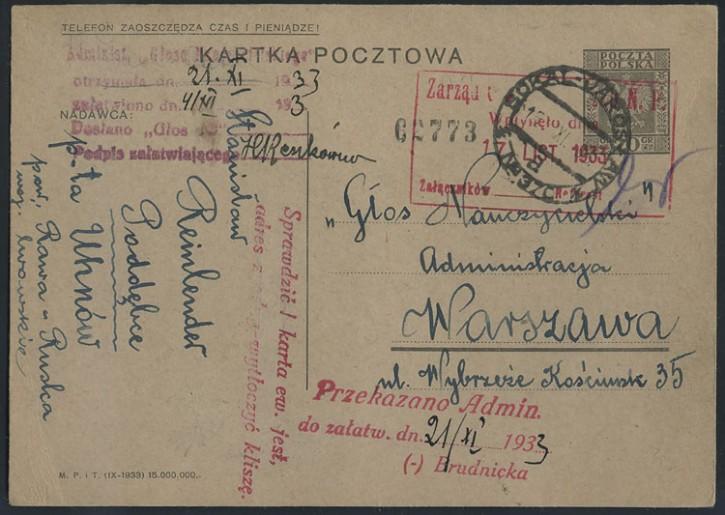 Піддубне-Варшава. 1933