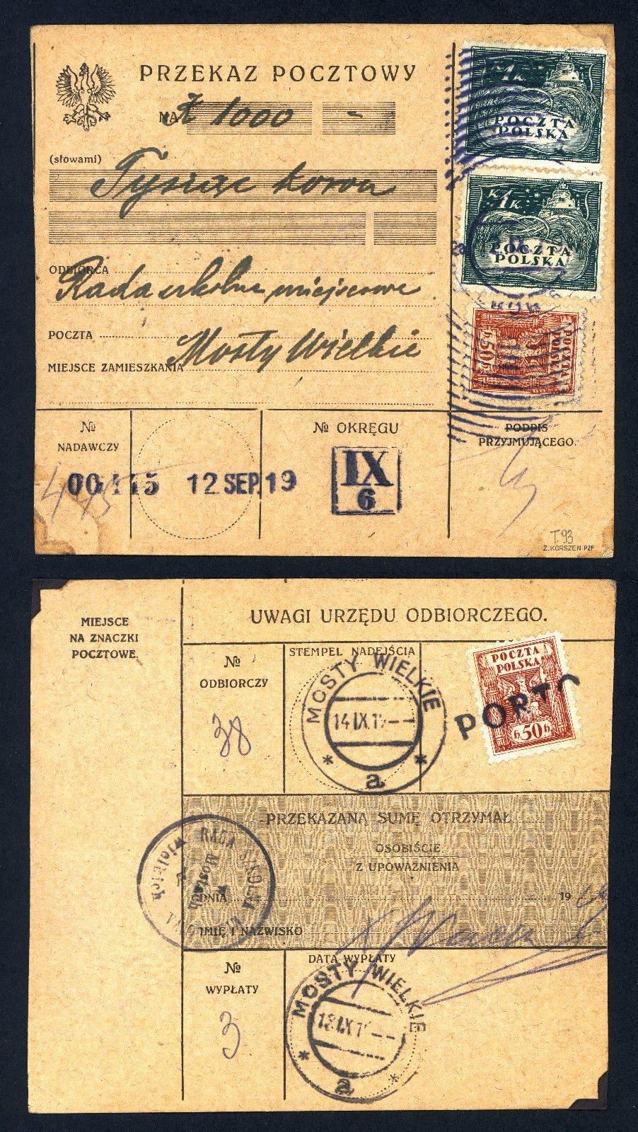 Великі Мости, 1919. Поштовий переказ