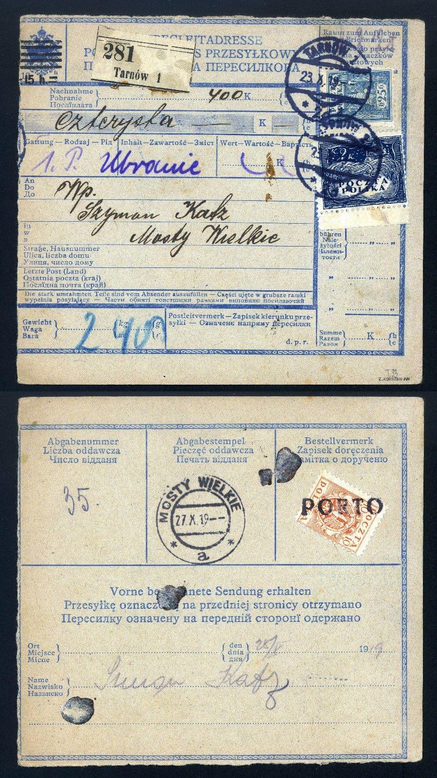 Тарнув - Великі Мости, 1919. Поштовий переказ